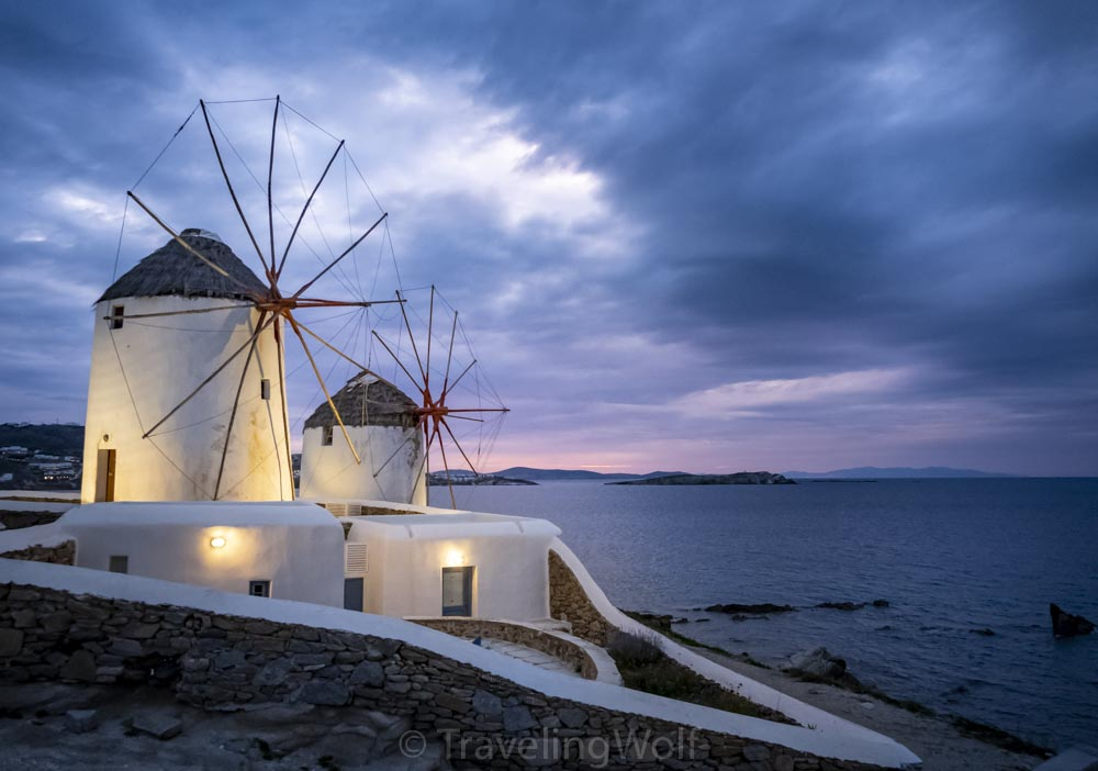 Windmills of Mykonos at sunset