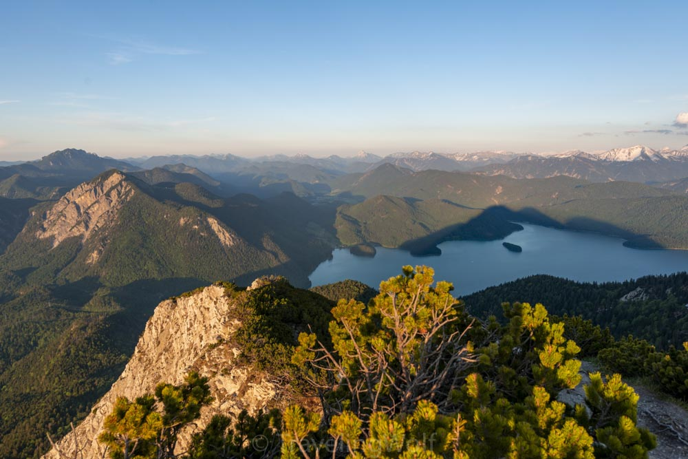 The view over lake Walchensee from the top of Herzogstand